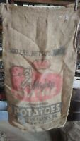 Vintage Burlap Bag Mighty Maine potatoes Northern Farms Presque Isle ME