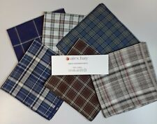 "Mansize Assorted Check  Handkerchiefs, 100 % Cotton,  Pack of 6, 18"" x 18"""