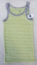 GAP KIDS Girls Grey Lime Thin Narrow Ribbed Sleeveless Vest Top 8-9 Years