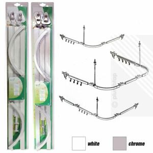 PROFESSIONAL Shower Curtain Hanging Track Rail Pole CHROME or WHITE 3 Shapes
