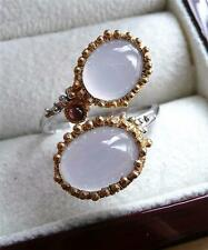 LAVENDER BLUE CHALCEDONY 925 STERLING SILVER OVAL CABOCHON CROSSOVER RING SZ R 9