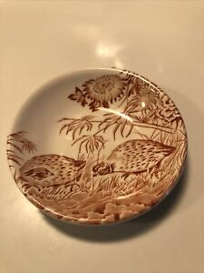 Antique Furnivals Quail Brown Butter Pat China Plate 1913 Made In England 684771