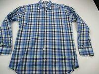 Peter Millar Mens Button Front Shirt Blue Checks Long Sleeve Cotton Golf Medium