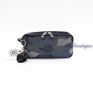 NWT Kipling AC7374 Chap Pen Case Makeup Accessory Pouch Nylon Cool Camo Multi 42