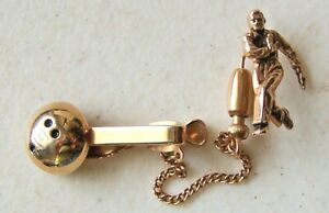 Vintage Hickok Gold Tone Bowler with Ball Tie Tack Pin