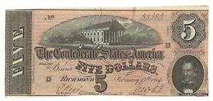 LIGHTY CIRCULATED 1864 $5 CONFEDERATE STATES OF AMERICA NOTE CSA    (383)