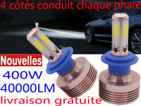 KIT AMPOULES LED CREE 9005 H11 H4 H7 400W 40000LM LUMENS 6500K BLANC PHARE XENON