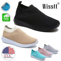 Women's Air Cushion Sneakers Breathable Running Athletic Sports Slip On Shoes US
