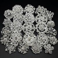 24pc/lot Mixed Silver Rhinestone Crystal Brooches Pin DIY Wedding Bridal Bouquet
