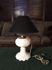 Antique Milk Glass Oil/Kerosene Lamp with Updated Removable Light Fixture