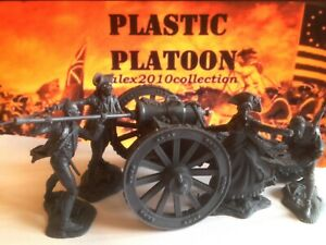 NEW!! PLASTIC PLATOON, American Cannon With Crew, rubber soldiers 1:32
