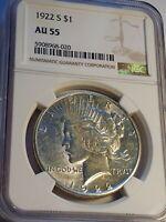 1922 S $1 Peace Dollar - AU 55 DETAILS NGC CERTIFIED- LE530,BRILLIANT BEAUTIFUL!