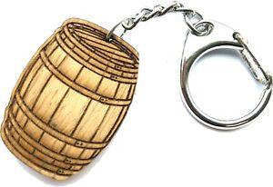 Wooden Whiskey Barrel Keyring - Personalised Engraved