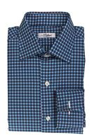 BELVEST by Finamore Napoli Shirt Cotton Twill Check French Cuff 15 1/2 - 39 Reg