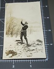 Abstract 1920's LASSO ROPE TRICK Look Close! Wild West Vintage Snapshot PHOTO