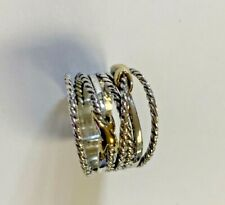 David Yurman Size 7.5 Double X Crossover Ring 925 Sterling Silver 18k Gold