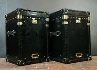 Luxury Black Mock Croc Leather Occasional Side Table Trunks Bespoke Handmade