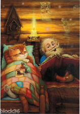 OLD MAN READS TALE TO CAT AND MICE IN THE VILLAGE HOUSE Modern Russian postcard