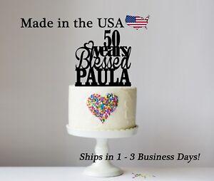 Personalized Birthday Cake Topper, Golden Anniversary Blessed Keepsake - LT1309