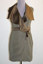 Peppe Peluso Wrap Dress M Sleeveless V-Neck Front Ruffle Green Lined FREE SHIP