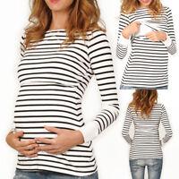 Women Ladies Maternity Nursing Tops Long Sleeve Slim Fit Long Pregnant Blouse