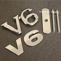 Chrome V6 Grill & Rear Boot Badge Set Emblem Decal Car Van Grille Back Trunk v6s