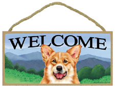 "Welcome Corgi Dog Country Blue Skies New Hanging Wood Dog Sign Cute 10""x 5"" B54"