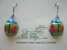 HANDCRAFTED & HANDPAINTED Ceramic Dangling Earrings - GREEN LADYBIRD - NEW