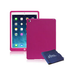 Silicone Rubber Shockproof Cover Case For iPad Air 2 + Microfiber Cloth Hot Pink