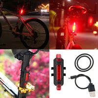5 LED USB Rechargeable Bike Bicycle Cycling Tail Rear Safety Red Warning Light