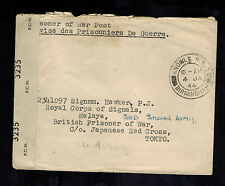 1944 Birmingham England Cover to Prisoner of War POW Tokyo Japan Red Cross Malay
