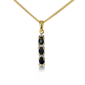 Gold Sapphire Diamond Necklace Blue Oval 0.6 ct 18''  Chain Yellow Plated Silver