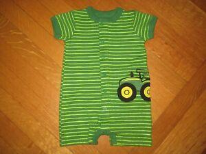 NEW John Deere baby boy's green stripe s/s romper 3-6 months NWOT tractor