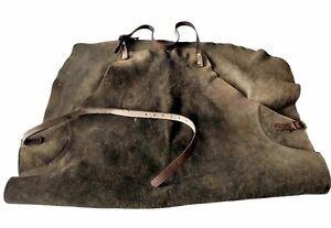 Vintage Suede Leather Work Apron Olive Green Heavy Duty Workshop/Blacksmith etc