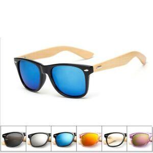 Square Wood Temple Unisex Sunglasses Retro Vintage Designer Men Women Ladies
