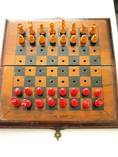 VINTAGE CHESS SET PEGGED TRAVEL GAME WOODEN BOARD WOODEN MEN VINTAGE OLIVE WOOD?