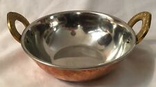 """Metal 2 1/2 X 6"""" Copper Bowl with Brass Handles"""