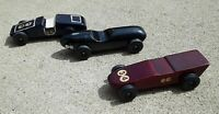 Vtg Pinewood Derby Cars Lot of 3 Hand Made Painted Boyscouts Folk Art Decor toys
