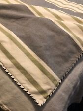 Gorgeous Queen Size Duvet Gray And Green Ivory 100% Cotton Blanket Stitch