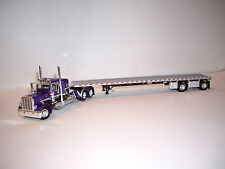 DCP 1/64 PURPLE BLACK SILVER 389 PETERBILT WITH 36'' SLEEPER WITH FLAT BED