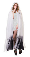 Ladies White Ghost Bride Cape Hooded Halloween Cloak Fancy Dress Costume New