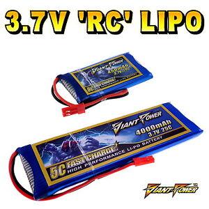 3.7V 50mAh - 2200mAh 1S RC LiPo Battery up to 50C All Sizes + Custom Connector