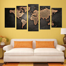 5 Pieces Modern Canvas Painting Wall Art Home Decoration Map Of The World Canvas