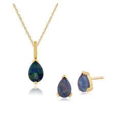 9ct Oro Giallo Tripletta Opale Pietra Singola Pera Orecchini a Lobo & 45cm