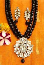 Ethnic Long Black Beads Kundan Necklace and Earrings/Bollywood Long Kundan Set