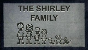 Personalised Engraved Nylon Family Door Mat 40cmx70cm Internal Etched Gift Idea
