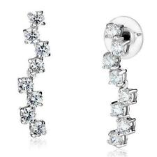 3W1289  DANGLE DROP  EARRINGS SIMULATED DIAMONDS CLEAR 1.3INCH 4MM STONES
