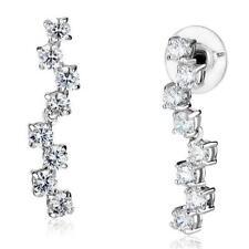3W1289  DANGLE DROP  EARRINGS SIMULATED DIAMONDS CLEAR 1.3INCH 4MM STONES