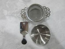 3pce Antique Style Silver Tea Strainer Drip Bowl Scoop Set Loose Tea Leaves