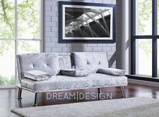 Crushed Velvet Fabric Silver Sofa Bed Cupholder 3 Seater Chrome Legs